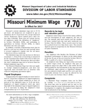 Free Missouri Missouri Minimum Wage Law (LS-52) PDF (Minimum Wage Law Poster)