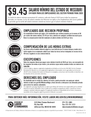 Free Missouri Missouri Minimum Wage Law (LS-52) (Spanish) PDF (Minimum Wage Law Poster)