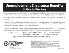 Free Missouri Notice to Workers Concerning Unemployment Benefits PDF (Unemployment Law Poster)