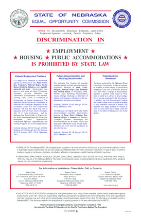 Free Nebraska Discrimination in Employment, Housing, and Public Accommodations is Prohibited by State Law PDF (Equal Opportunity Law Poster)