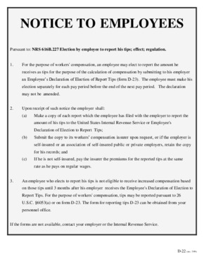Notice to employees regarding tips PDF