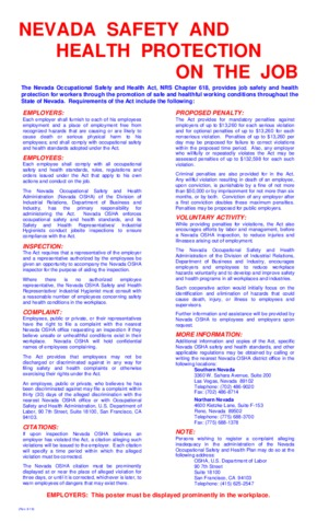 Free Nevada Nevada Safety and Health Protection on the Job PDF (Job Safety Law Poster)