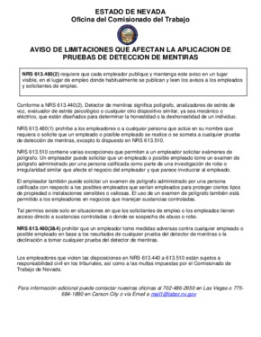 Free Nevada Notice of Limitations affecting the Application of Lie Detector Tests (Spanish) PDF (Miscellaneous Law Poster)