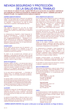 Free Nevada Nevada Safety and Health Protection on the Job (Spanish) PDF (Job Safety Law Poster)