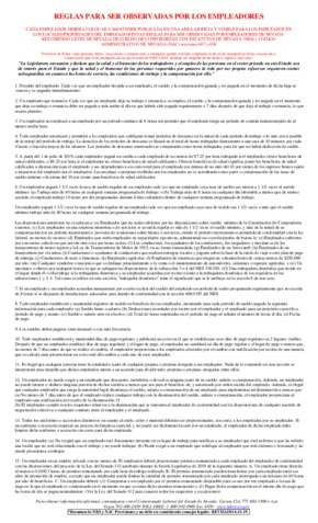 Free Nevada Rules to be Observed by Employers (Spanish) PDF (General Labor Law Poster Poster)