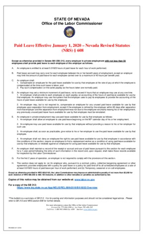 Free Nevada SB 312 Paid Leave PDF (General Labor Law Poster Poster)