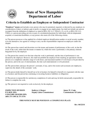 Free New Hampshire Criteria to Establish an Employee or Independent Contractor PDF