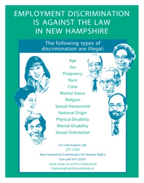 Free New Hampshire Employment Discrimination is Against the Law in New Hampshire PDF (Equal Opportunity Law Poster)