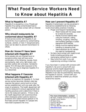 Free New Hampshire What Food Service Workers Need to Know about Hepatitis A PDF