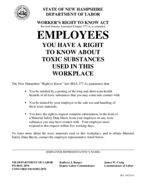 Free New Hampshire Employees have a right to know about Toxic Substances used in this Workplace PDF