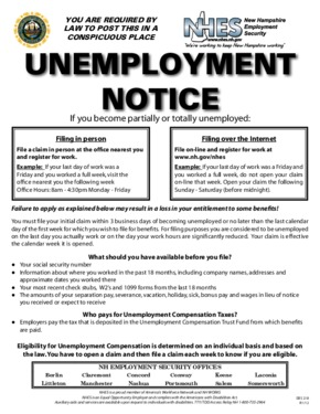 Free New Hampshire Unemployment Notice PDF (Unemployment Law Poster)