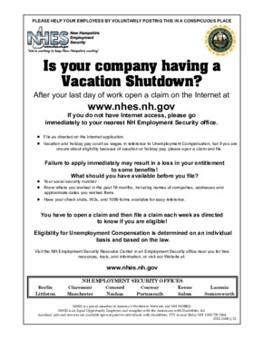 Free New Hampshire NHES Vacation Shutdown PDF