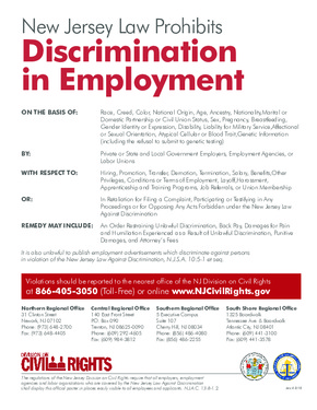 Free New Jersey Discrimination in Employment Notice PDF (Workers Rights Law Poster)