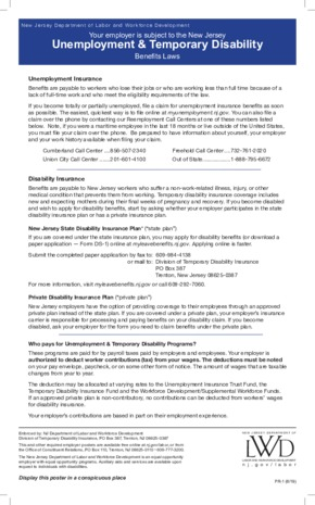 Free New Jersey PR-1, Poster - Unemployment & Disability Insurance PDF (Unemployment Law Poster)
