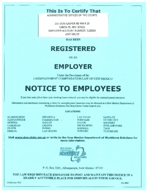 Free New Mexico New Mexico Unemployment Insurance Poster PDF (Unemployment Law Poster)