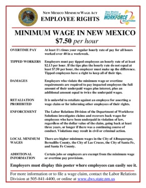 Free New Mexico New Mexico Minimum Wage Summary PDF (Minimum Wage Law Poster)