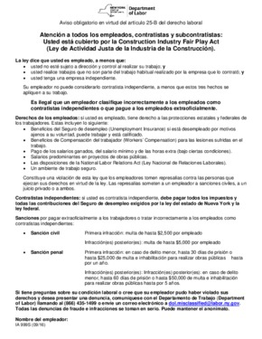 Free New York Construction Industry Fair Play Act (Spanish) PDF (Employee Classification Law Poster)