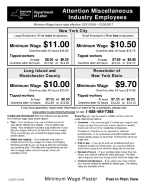 Free New York Minimum Wage Poster PDF (Minimum Wage Law Poster)