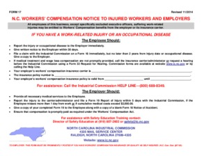 Free North Carolina N.C. Workers' Compensation Notice to Injured Workers and Employers PDF (Workers Compensation Law Poster)
