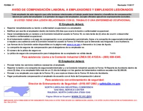 N.C. Workers' Compensation Notice (Spanish) PDF