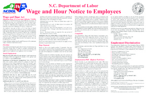 Free North Carolina N.C. Labor Laws Poster PDF (General Labor Law Poster Poster)