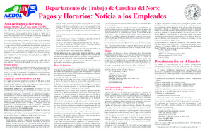 Free North Carolina N.C. Labor Laws Poster (Spanish) PDF (General Labor Law Poster Poster)