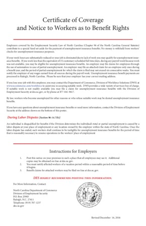 Free North Carolina Unemployment Insurance Poster PDF (Unemployment Law Poster)