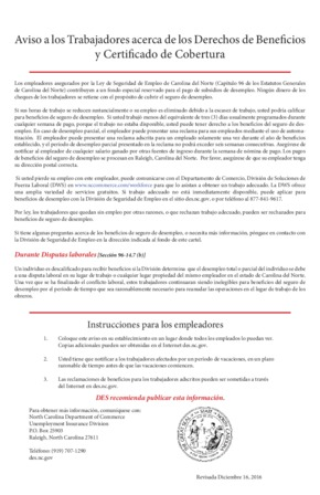 Free North Carolina Unemployment Insurance Poster (Spanish) PDF (Unemployment Law Poster)