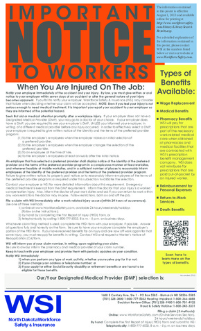 Free North Dakota Workforce Safety and Insurance Important Notice to Employees Poster PDF (Workers Compensation Law Poster)