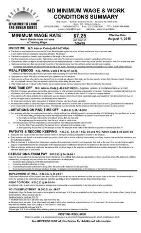 Free North Dakota North Dakota Minimum Wage and Work Conditions Summary Poster PDF (Minimum Wage Law Poster)