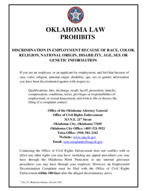Free Oklahoma Oklahoma Law Prohibits Discrimination in Employment PDF (General Labor Law Poster Poster)