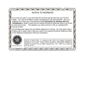Free Oklahoma Unemployment Insurance PDF (General Labor Law Poster Poster)
