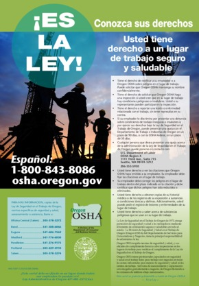 Free Oregon Cartel de Seguridad e Higiene de Oregon OSHA (Spanish) PDF (Job Safety Law Poster)