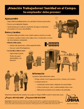 Free Oregon Field Sanitation Notice (Spanish) PDF