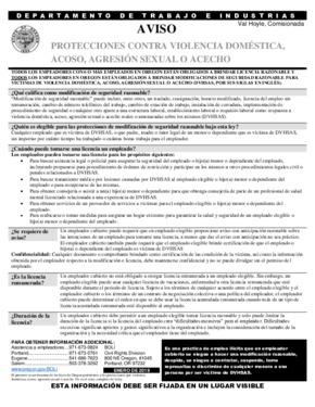 Domestic Violence, Harassment, Sexual Assault or Stalking Protections (Spanish) PDF