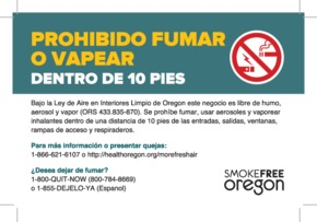 Free Oregon Oregon's Smoke free Workplace Law (Spanish) PDF