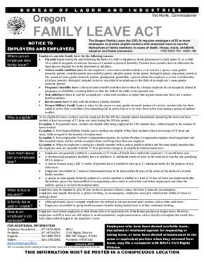 Free Oregon Oregon Family Leave Act (OFLA) Poster PDF
