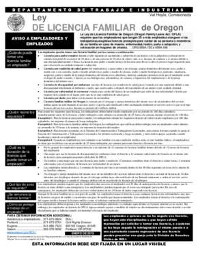 Free Oregon Ley de Licencia Familiar de Oregon (Spanish) PDF (Family Leave Law Poster)