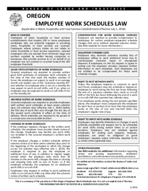 Free Oregon Oregon Employee Work Schedules Law PDF