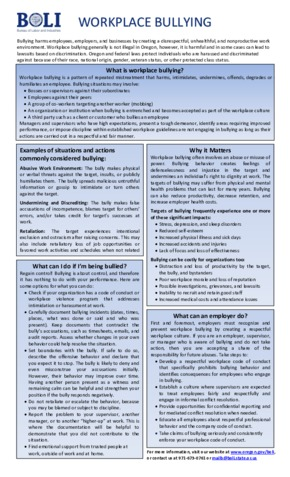 Free Oregon BOLI Workplace Bullying Poster PDF