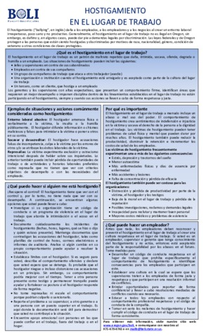 Free Oregon Workplace Bullying Poster (Spanish) PDF (Miscellaneous Law Poster)
