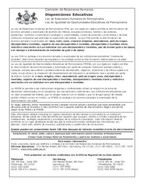 Free Pennsylvania Fair Education Spanish PDF (Equal Opportunity Law Poster)