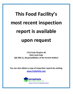 Free Pennsylvania Food Facility Inspection Report Poster PDF