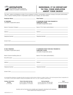 Free Pennsylvania Form No. LIBC-500 (Rev 5-09) Workers' Compensation Insurance Posting PDF (Workers Compensation Law Poster)