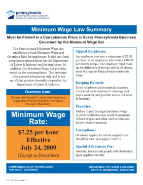 Free Pennsylvania Form No. LLC-1 - Minimum Wage Law Poster and Fact Sheet PDF