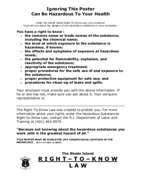 Free Rhode Island Right to Know PDF (Job Safety Law Poster)