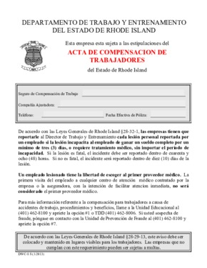 Free Rhode Island Workers' Compensation Act (Spanish) PDF (Workers Compensation Law Poster)