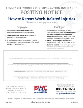 Free Tennessee Tennessee Workers' Compensation Insurance Posting Notice PDF (Workers Compensation Law Poster)