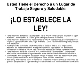 Free Tennessee A Safe and Healthful Workplace in Tennessee is the Law (Spanish)! PDF (Job Safety Law Poster)