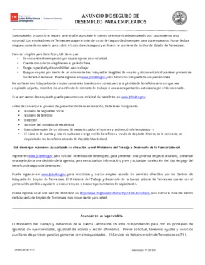 Free Tennessee Unemployment Insurance Poster for Employees (Spanish) PDF (Unemployment Law Poster)